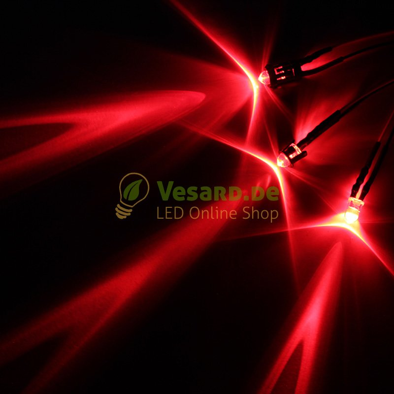 20 Stück diffus 5mm rot verkabelt 12V diffused rote LED licht